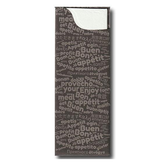 Pochette à couverts<Br>Couleur GRIS<Br>Modèle Charme AIRLAID