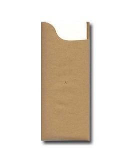 Pochette à couverts, Couleur CHOCOLAT, Modèle Charme, Gaufrée 38x38cm.