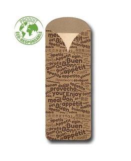 Pochette à couverts<Br>Kraft recyclé et Serviette Fibre de bambou<Br>Modèle Elegance