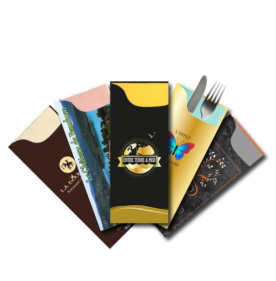 Les pochettes personnalisées<BR>Modèle Charme<Br>Airlaid 40x40 cm PASTEL.