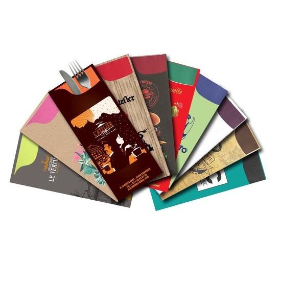 Les pochettes personnalisées<BR>Modèle Charme<Br>Airlaid 40x40 cm VIF.